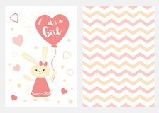 Its a girl Set of pink white yellow templates for invitations Rabbit balloon Zigzag background vector. It`s a girl Set of pink white and yellow templates for vector illustration