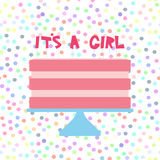 Its a girl. Sweet pink cake, strawberry pink cream. Baby shower banner design, card template, pastel colors on white polka dot bac Royalty Free Stock Images