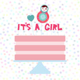 Its a girl. Sweet pink cake, strawberry pink cream, matryoshka, heart. Baby shower banner design, card template, pastel colors on Royalty Free Stock Photography