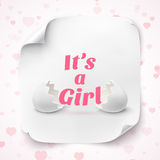 Its a girl. Template for baby shower celebration Royalty Free Stock Photos