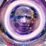 Its made of Stars. Surreal digital art. Mans head with stars and clouds. Abstract background. This image created in entirety by me and is entirely owned by me Royalty Free Stock Images