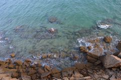 Turquoise ocean and brown rocks stock images