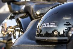 Its not the speed its the sudden stops funny sticker on motorcyl Stock Images