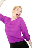 Its party time. Pretty lady freaking out Royalty Free Stock Images