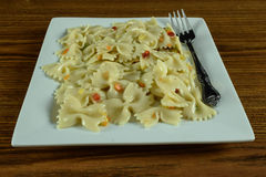 Its pasta time. Pasta on a white plate taken at125th at f11 Stock Image