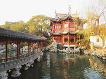 Yu garden loft, cloisters and water. With its shaded alcoves, sparkling pools flashing with goldfish, beckoning classical pavilions, rustling bamboo and rocky stock photo