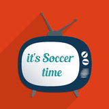 Its Soccer time. Concept for football time, championship and information society. Flat design illustration Royalty Free Stock Photo