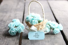 Its spring Time, spring flowers in a small basket Stock Image
