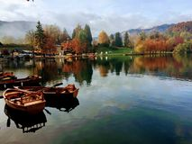 Lake Bled travel, slovenia. With its stunning lake, picture-postcard church on an islet, and some of the highest peaks of the Julian Alps and the Karavanke as stock image