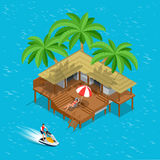 Its Summer Time or Summer vacation concept. Vector background Flat 3d vector isometric illustration wallpaper, fun Stock Images