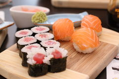 Its a sushi time with wasabi and soy sauce Royalty Free Stock Photos