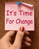 Its Time For Change Note Means Revise Reset. Or Transform Stock Image