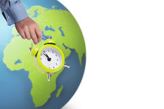 Its time for planet. Alarm clock and planet earth as sustainability concept Royalty Free Stock Photo