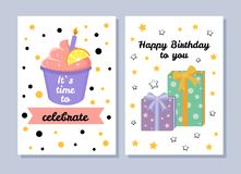 Its Time to Celebrate Postcard Vector Illustration. Its time to celebrate postcards collection, happy Birthday to you, Birthday cards with presents and cake with Royalty Free Stock Photos