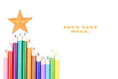 Its Time To Color. Color Pencils And Fabric Star Background Royalty Free Stock Photography