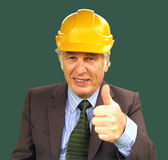 Its Working. The builder tells his customer Stock Image