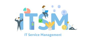 ITSM informationsteknikserviceledning, akronymaffärsidé Begrepp med nyckelord, bokstäver och symboler royaltyfri illustrationer