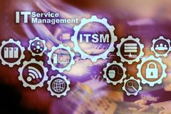 ITSM. IT Service Management. Concept for information technology service management on supercomputer background
