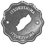 Itsukushima map vintage stamp. Retro style handmade label, badge or element for travel souvenirs. Grey rubber stamp with island map silhouette. Vector Royalty Free Stock Image