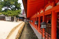 Itsukushima Shintorelikskrin, Miyajima, Japan Arkivbilder