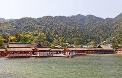 Itsukushima Shintorelikskrin (XVI c ) Japan Lång exponering Arkivfoto