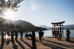 Itsukushima shire in the water royalty free stock image