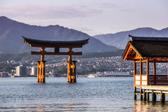 Itsukushima Shrine famous place at Miyajima. Royalty Free Stock Photos