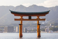 Itsukushima Shrine famous place at Miyajima. Royalty Free Stock Image