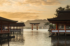 Itsukushima Shrine famous place at Miyajima. Stock Image