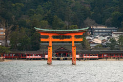 Itsukushima shrine, floating Torii gate, Miyajima island, Japan. Royalty Free Stock Photos