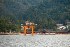 Itsukushima shrine, floating Torii gate, Miyajima island, Japan. Stock Image