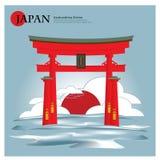 Itsukushima Shrine Japan Landmark and Travel Attractions. Vector Illustration Royalty Free Stock Photo