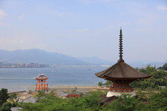Itsukushima Shrine roof top for backgroud. And copy space royalty free stock photos