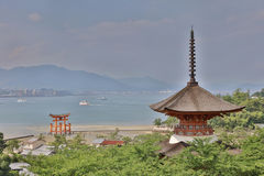 Itsukushima Shrine roof top for backgroud. And copy space royalty free stock images