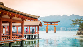 Itsukushima Shrine roof top for background. And copy space stock image