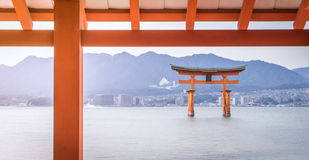Itsukushima Shrine roof top for background. And copy space royalty free stock image
