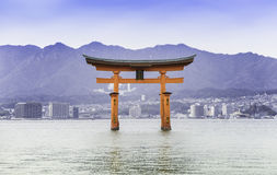 Itsukushima Shrine roof top for background. And copy space stock photography