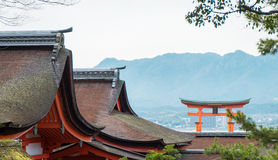 Itsukushima Shrine roof top for background. And copy space stock photos