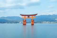 Floating Torii of Itsukushima Shrine in Hiroshima, Japan. Itsukushima Shrine is a Shinto shrine on the island of Itsukushima Miyajima. the floating torii is a stock photos