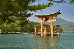 Itsukushima Torii, portes de flottement encadrées par des branches de pin image libre de droits