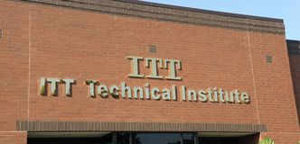 ITT Technical Institute Sign. ITT Technical Institute is a for-profit technical institute with approximately 130 campuses in 38 states of the United States royalty free stock photo