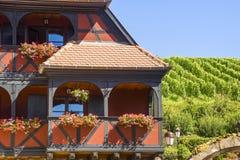 Itterswiller (阿尔萨斯) -之家和葡萄园 免版税库存照片