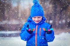Ittle男孩享用在冬天自然的雪 免版税库存图片