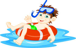 Ittle Boy diver with lifebuoy waving Royalty Free Stock Images