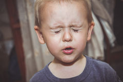 Ittle boy playing hide and seek. Little boy closed his eyes and playing hide and seek with the kids Stock Photography