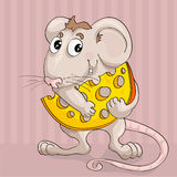 Ittle mouse with slice of cheese Royalty Free Stock Images