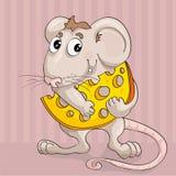 Ittle mus med skivan av ost Royaltyfria Bilder