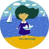 Ittlemeisje op het strand en een boot ter beschikking Stock Illustratie
