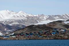 Ittoqqortoormiit村庄在格陵兰 免版税图库摄影
