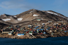 Ittoqqortoormiit village in Greenland. The colorful houses of an Arctic village royalty free stock image